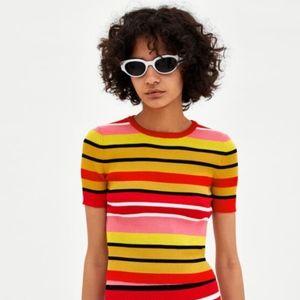 Zara Knit Multicolored Striped Short Sleeve Top M